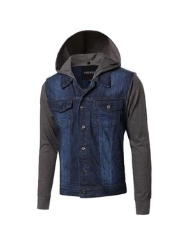 Fashion Outfit Men's Stone Washed Denim Color Contrast Detachable Hoodie Jacket by Fashion Outfit