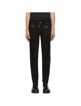 Black Rip Wash Rings Skater Jeans by Dsquared2