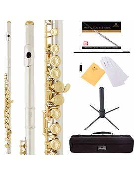 Mendini By Cecilio Premium Grade Closed Hole C Flute With Stand, Book, Deluxe Case And Warranty Silver Nickel With Gold Keys, Mfe Jng+Sd+Pb by Mendini By Cecilio
