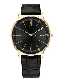 Men's Black Leather Strap Watch 40mm Created For Macy's by Tommy Hilfiger