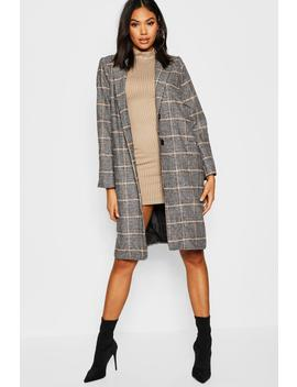 Tall Check Wool Coat by Boohoo
