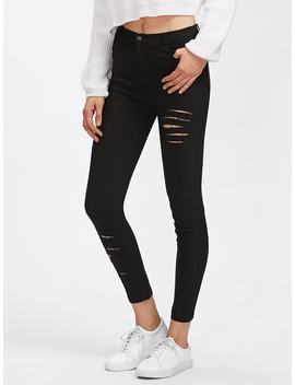 Rips Skinny Pants by Romwe