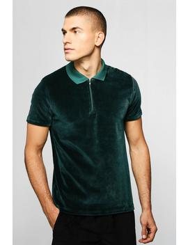 Velour Polo With Zip Placket by Boohoo