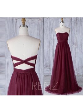 Wine Tulle Bridesmaid Dress Strapless, Ruched Sweetheart Wedding Dress, Backless Evening Gown, A Line Ball Gown Floor Length (Hs460) by Etsy