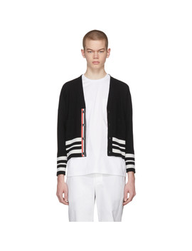 Black Cashmere Cricket Stripe Classic Short V Neck Cardigan by Thom Browne