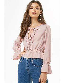 Flounce Split Neck Top by Forever 21