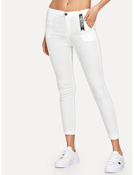 Solid Skinny Pocket Jeans by Romwe