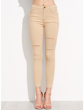 Khaki Ripped Skinny Jeans by Romwe