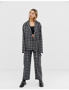 The Ragged Priest Mixed Check Blazer With Chain Detail by The Ragged Priest