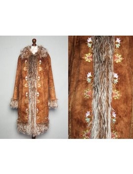 Sold! Please Do Not Buy || Beautiful Afghan Style Vegan Jacket With Flower Embroidery. Faux Fur Penny Lane 1970s Style Coat by Etsy