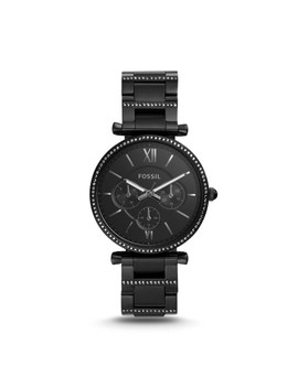 Carlie Multifunction Black Stainless Steel Watch by Fossil