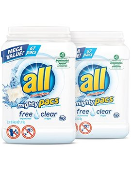 All Mighty Pacs Laundry Detergent, Free Clear For Sensitive Skin, 67 Count, 2 Tubs, 134 Total Loads by All