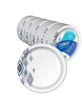 "Dixie Everyday Paper Plates,10 1/16"" Plate, 220 Count, Amazon Exclusive Design, 5 Packs Of 44 Plates, Dinner Size Printed Disposable Plates by Dixie"