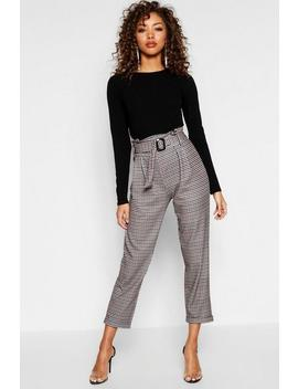 Heritage Check Belted Tapered Trouser by Boohoo