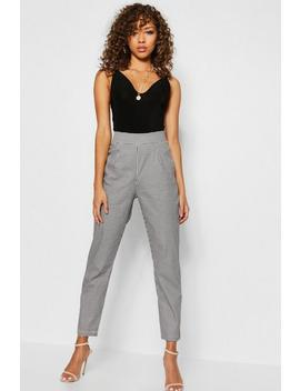 Woven Dogtooth Slim Fit Trousers by Boohoo