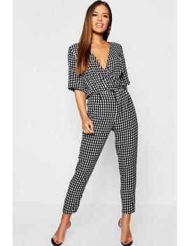 Petite Dogtooth Trouser by Boohoo