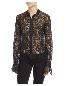 Mixed Lace Long Sleeve Button Front Bodysuit by Jonathan Simkhai
