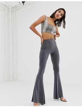 Missguided Slinky Crop Top In Grey Snake by Missguided