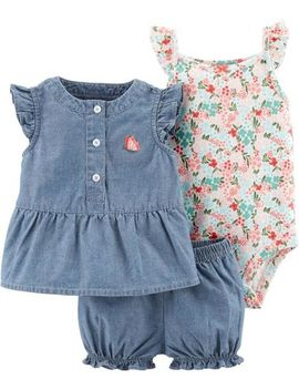 3 Piece Floral Little Short Set by Carter's
