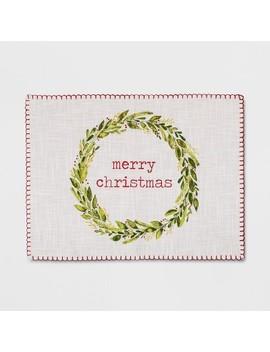 "19""X14""Merry Christmas With Blanket Stitch Placemat Sour Cream   Threshold™ by Threshold"