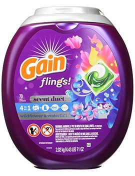Gain Flings! Laundry Detergent Pacs, Wildflower & Waterfall, 70 Count (Packaging May Vary) by Gain