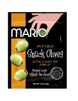 Mario Camacho Foods Pitted Snack Olives, Seasoned Green Garlic Olives, 1.05 Ounce (Pack Of 12) by Mario Camacho