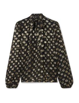 Polka Dot Metallic Fil Coupé Silk Blend Chiffon Blouse by Dolce & Gabbana
