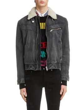 Denim Bomber Jacket With Faux Shearling Lining by Givenchy