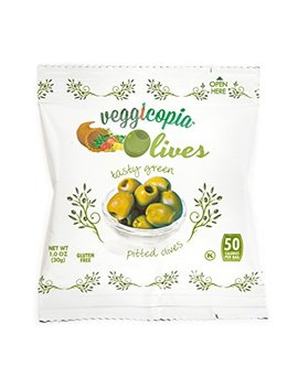 Veggicopia Olives, Tasty Green Pitted Olives, 1.05 Ounce Snack Bags (Pack Of 12) by Veggicopia
