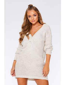 Cream Knot Front Jumper Dress by Quiz