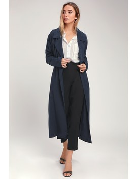 Swift As The Wind Navy Blue Trench Coat by Lulus