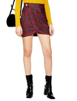 Tartan Bouclé Miniskirt by Topshop