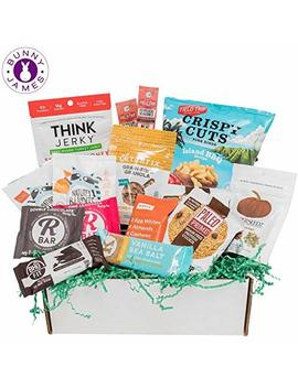 Paleo Diet Snacks Gift Basket: Mix Of Whole Foods Protein Bars, Grain Free Granola, Cookies, Jerky Meat Sticks, Fruit & Nut Snacks Sampler Box by Bunny · James ·
