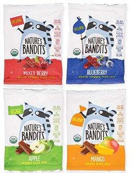 Nature's Bandits Organic Fruit & Veggie Stix (Variety  4 Flavors), Kid's 0.6 Oz Value Pack   24 Bags (Vegan, Gluten Free, Kosher) by Nature's Bandits