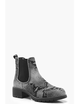 Snake Print Chunky Chelsea Boots by Boohoo