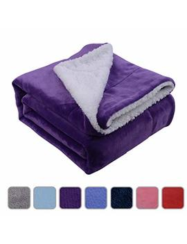 "Nord Eco Throw Blanket Reversible Microfiber Flannel Sherpa Blanket For Twin Size Bed/Sofa/Couch, Super Soft Heated For Adults/Kids/Mom, Purple, 50""X 60"" by Nord Eco Home"