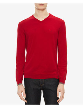 Men's Solid Extra Fine Merino V Neck Sweater by Calvin Klein