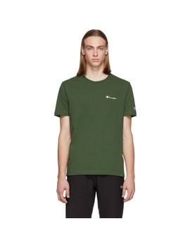 Green Small Script Logo T Shirt by Champion Reverse Weave
