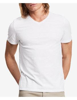 Men's Slim Fit V Neck Textured Tee by Calvin Klein