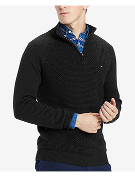 Men's Waffle Knit Quarter Zip Sweater, Created For Macy's by Tommy Hilfiger