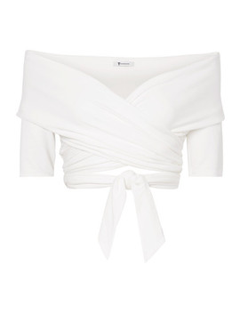 Off The Shoulder Wrap Effect Stretch Modal Jersey Top by T By Alexander Wang