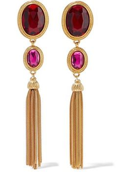 24 Karat Gold Plated Crystal Tassel Earrings by Ben Amun