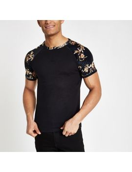 Black Slim Fit Baroque Velour T Shirt by River Island
