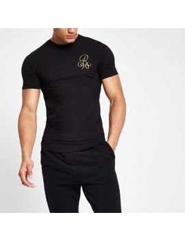 Black 'R96' Muscle Fit T Shirt by River Island
