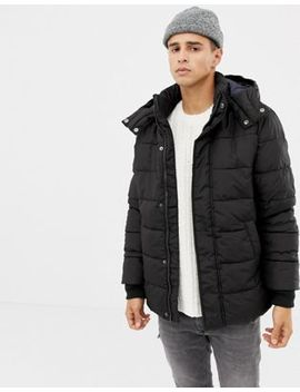United Colors Of Benetton – Pufferjacke Mit Kapuze In Schwarz by Asos