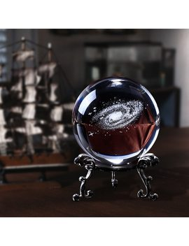 60mm 3 D Laser Engraved Galaxy Glass Ball Quartz Crystal Home Decoration Accessories Miniatures Boy Gifts by Jqj