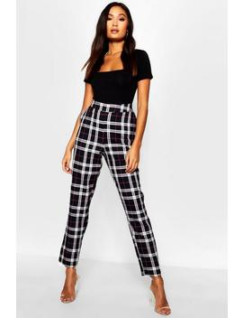 Woven Tartan Check Slim Fit Trousers by Boohoo