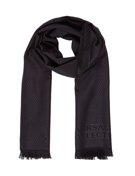 Black & Grey Pure Wool Scarf by Versace Collection