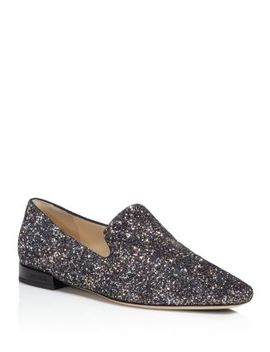 Women's Jaida Glitter Square Toe Smoking Slipper Flats by Jimmy Choo