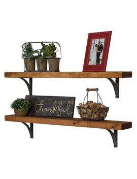 Industrial Grace Simple Bracket Shelves, Set Of 2 Walnut by Del Hutson Designs